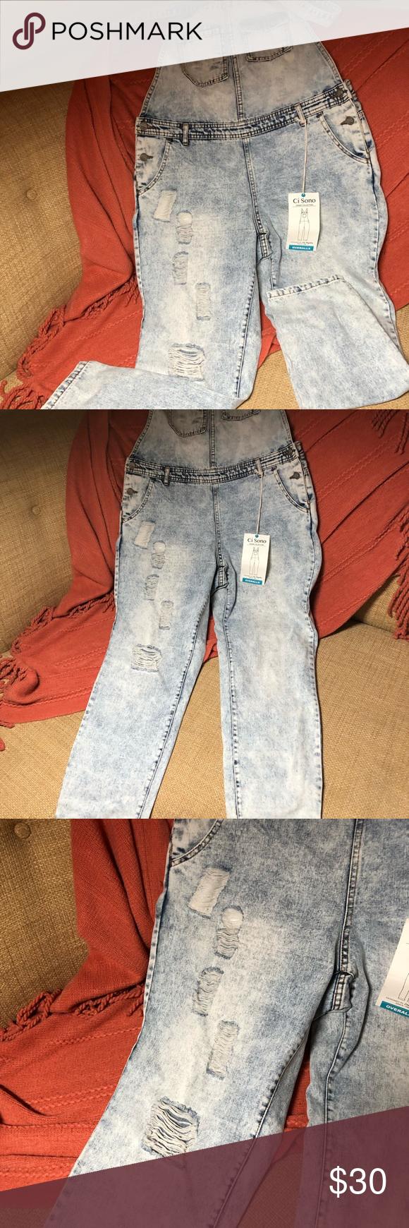 Women Junior Denim jumper Blue Jumpsuit Romper Overall Ci sono ripped Stylish L