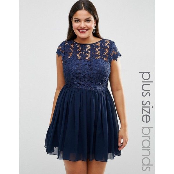 Club L Plus Skater Dress With Crochet Top ( 40) ❤ liked on Polyvore  featuring dresses cc09ea49f