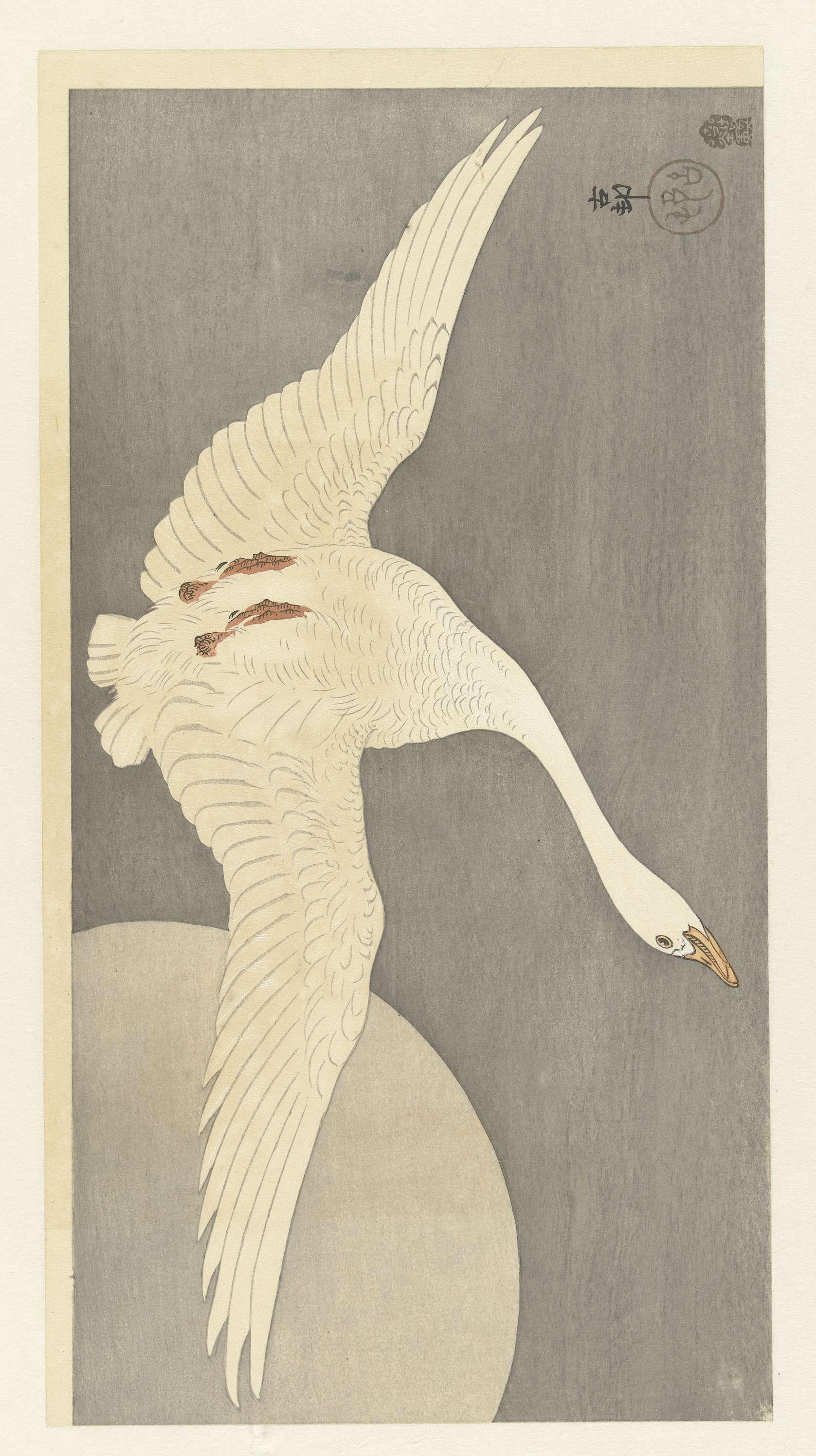 Gans bij volle maan, Ohara Koson, 1900 - 1910