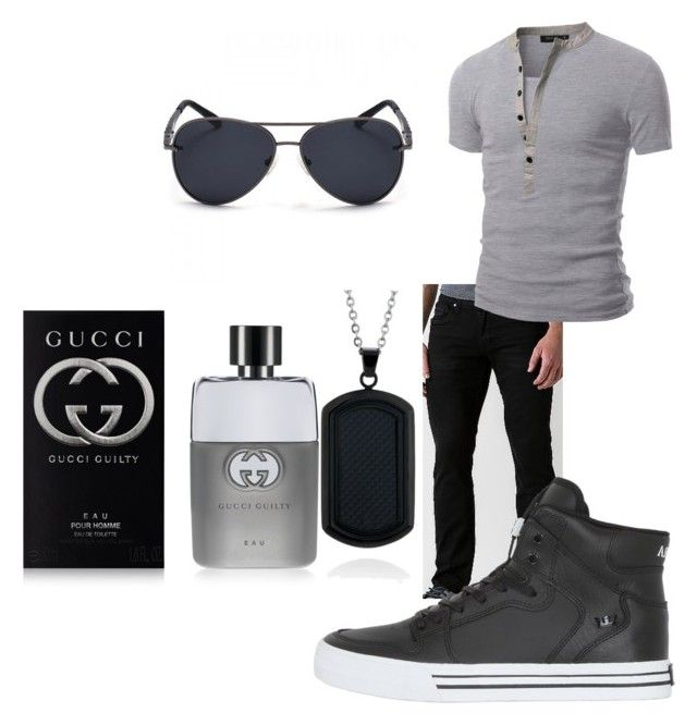 """""""Untitled #54"""" by aaleeyahpickens ❤ liked on Polyvore featuring Departwest, Doublju, Supra, Belk & Co., Gucci, men's fashion and menswear"""