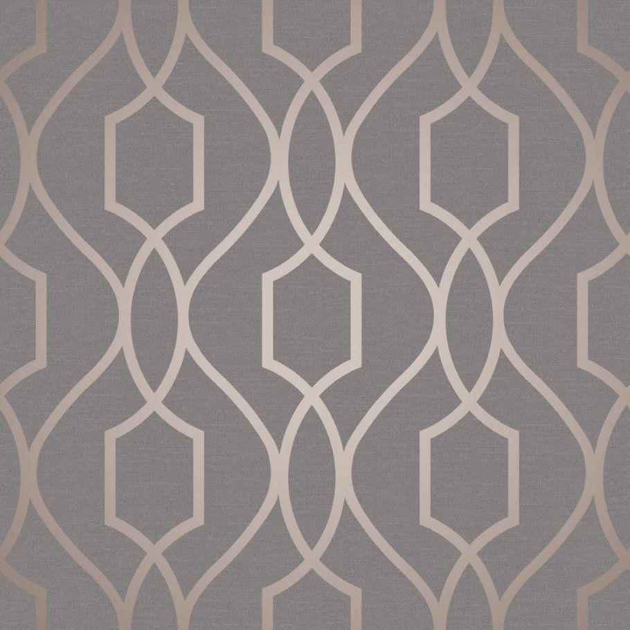 Apex Trellis Sidewall Wallpaper Copper: Fine Decor Apex Trellis Copper/Charcoal Wallpaper In 2019