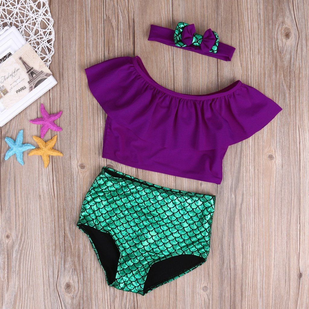 95c13b05f1 This 3 piece mermaid bathing suit is absolutely adorable! Your little girl  will fall in love!     If the size you need is out of stock message us to  ...