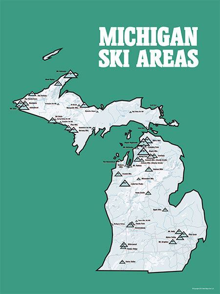Michigan Ski Resorts Map 18x24 Poster In 2019 Michigan Winter