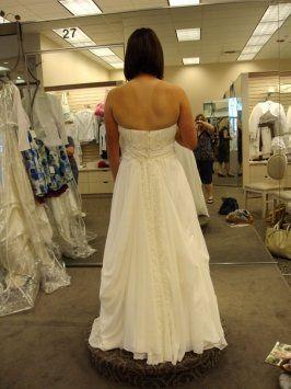David S Bridal Ivory Chiffon V9743 Wedding Dress Size 4 S 49