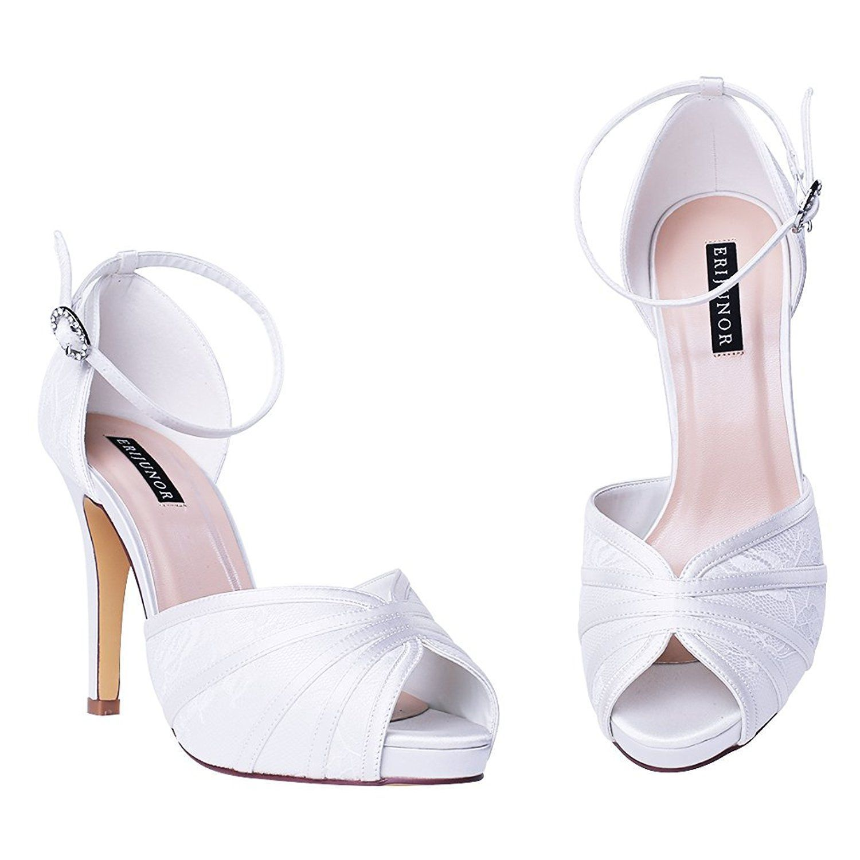 546d78bd06469 ERIJUNOR Women's High Heel Sandals Lace Satin Ankle Strap Evening ...