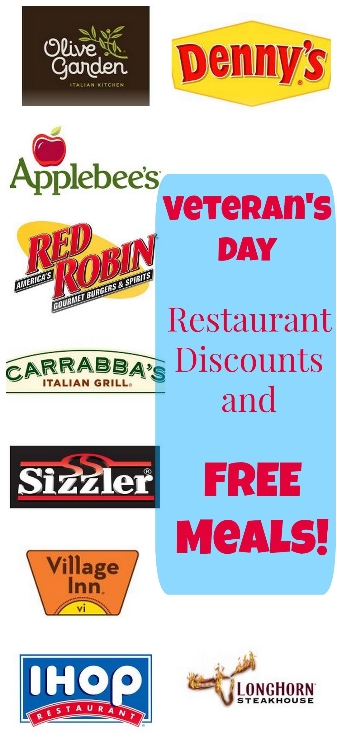 Here's a list of Veteran's Day Restaurant Discounts and