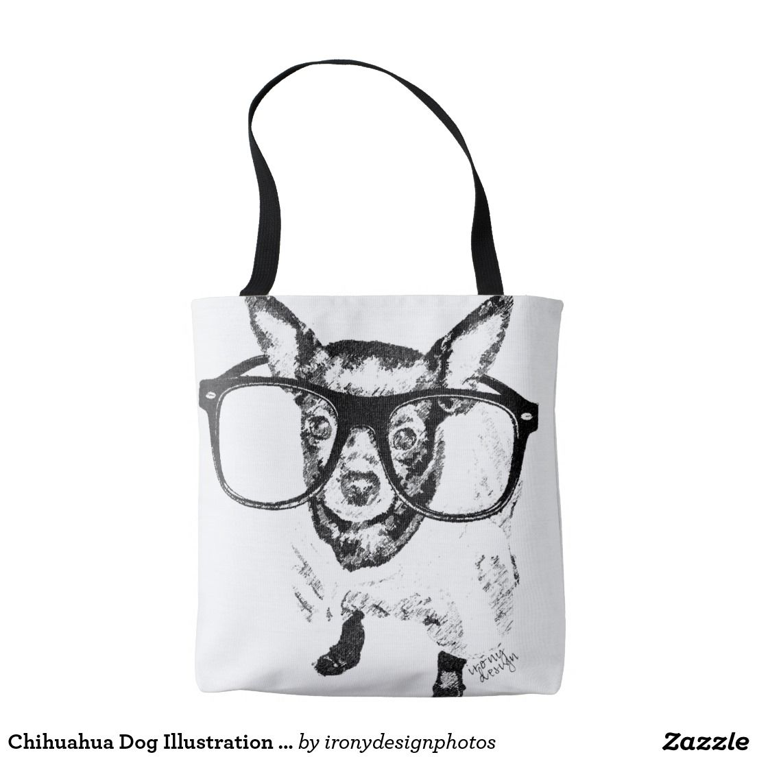 Chihuahua dog illustration drawing tote bags a cute black and white