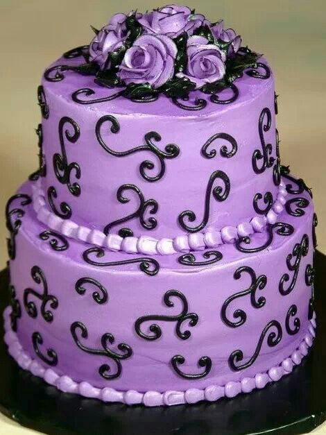 Purple and Black Wedding Cake. Would love with our people on top ...