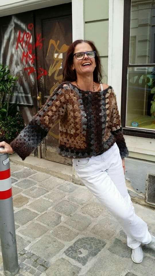 Kimonopulli #grannysquareponcho