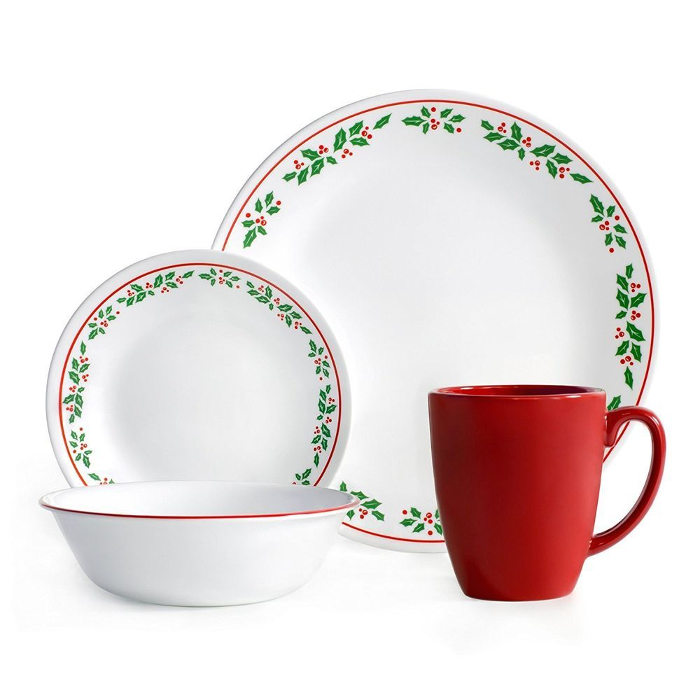 16-Piece Dinnerware Set Winter Holly Service for 4 Christmas Dinner ...