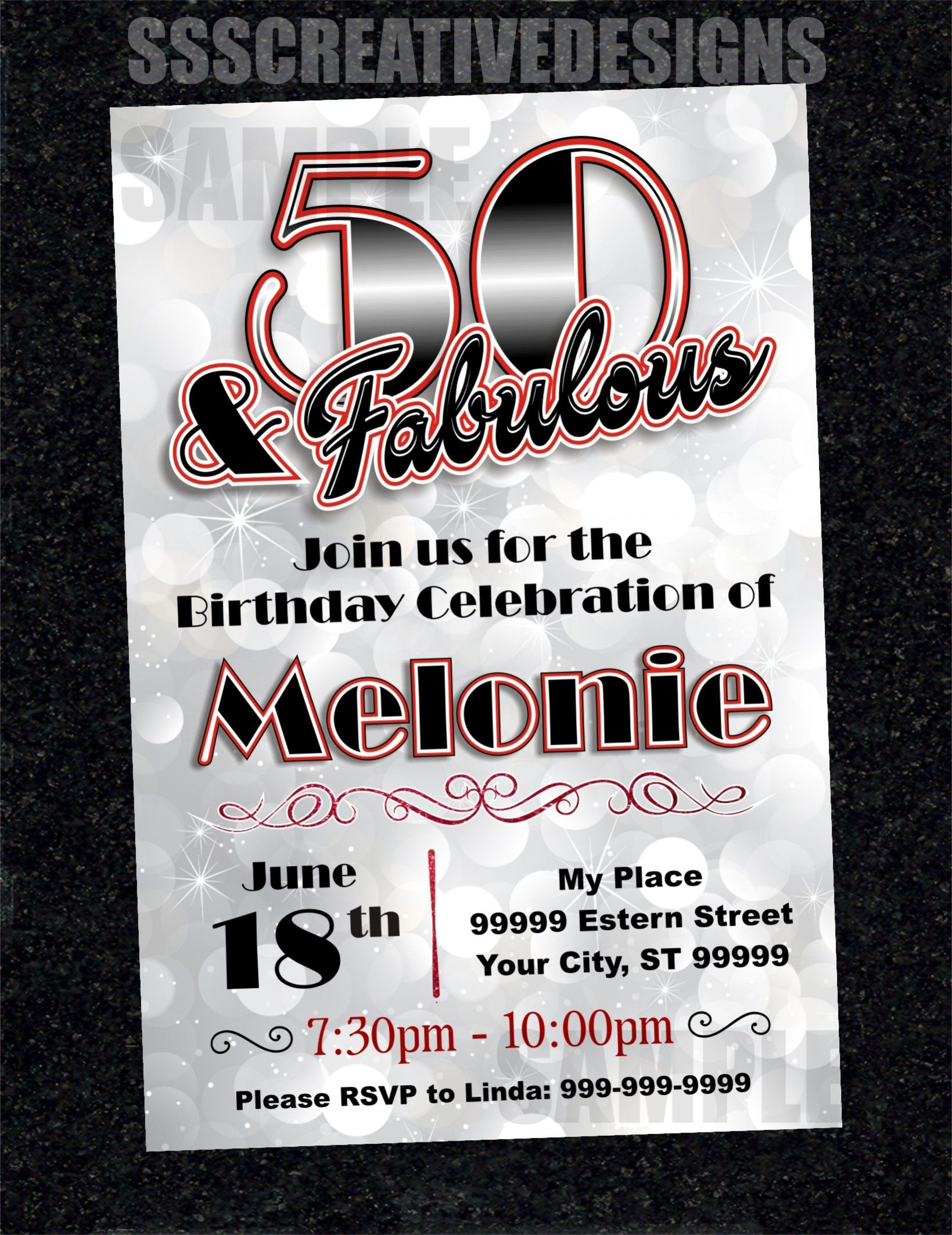 50th Birthday Invitation Card Turning 50 And Fabulous