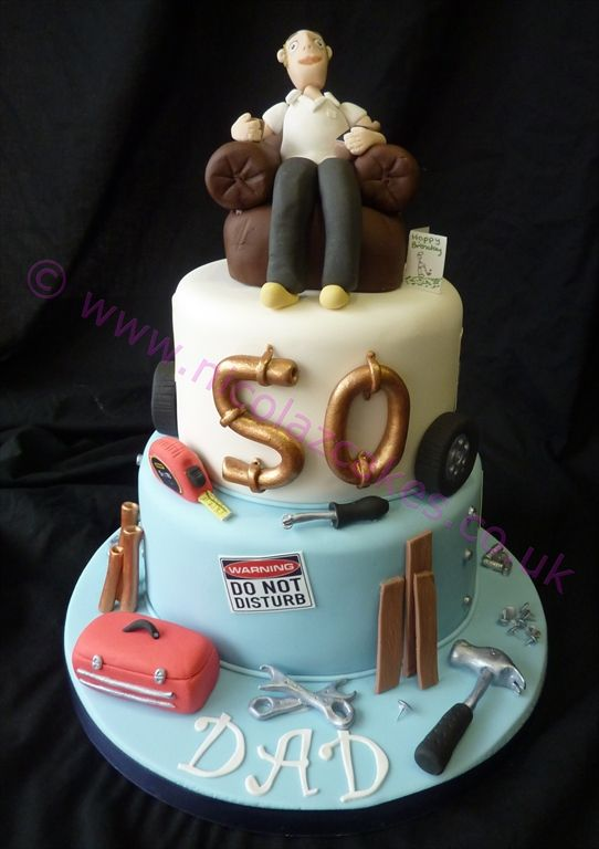 Terrific Male Birthday Cake 50Th With Odd Job Bits With Images Birthday Personalised Birthday Cards Veneteletsinfo
