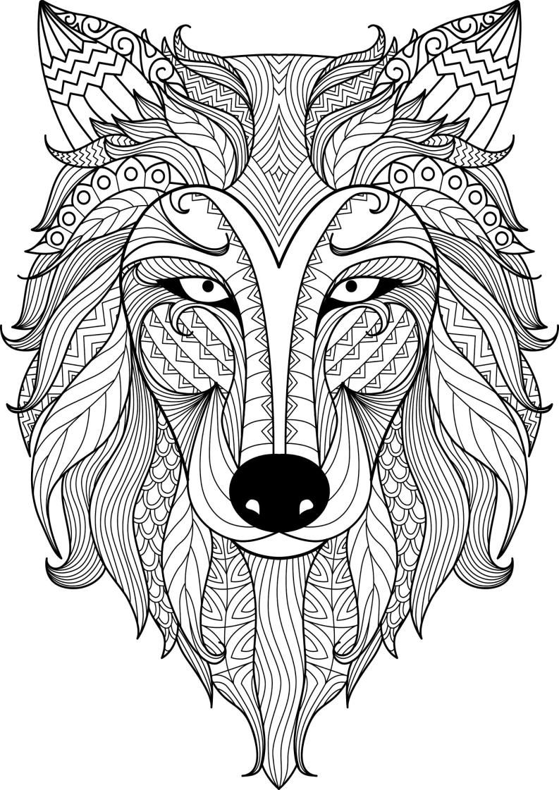 Mindfulness Coloring Wolf Animal Coloring Pages Mandala Coloring Books Mandala Coloring