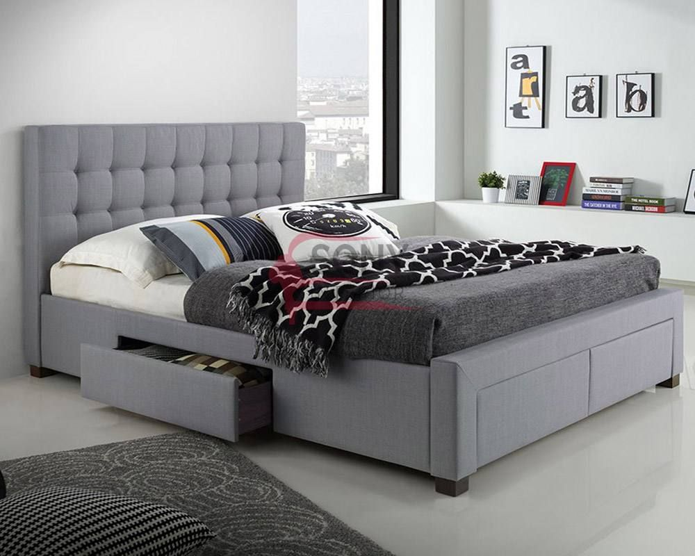 Aiden Grey Velvet Queen Cushion Bed Bed With Drawers