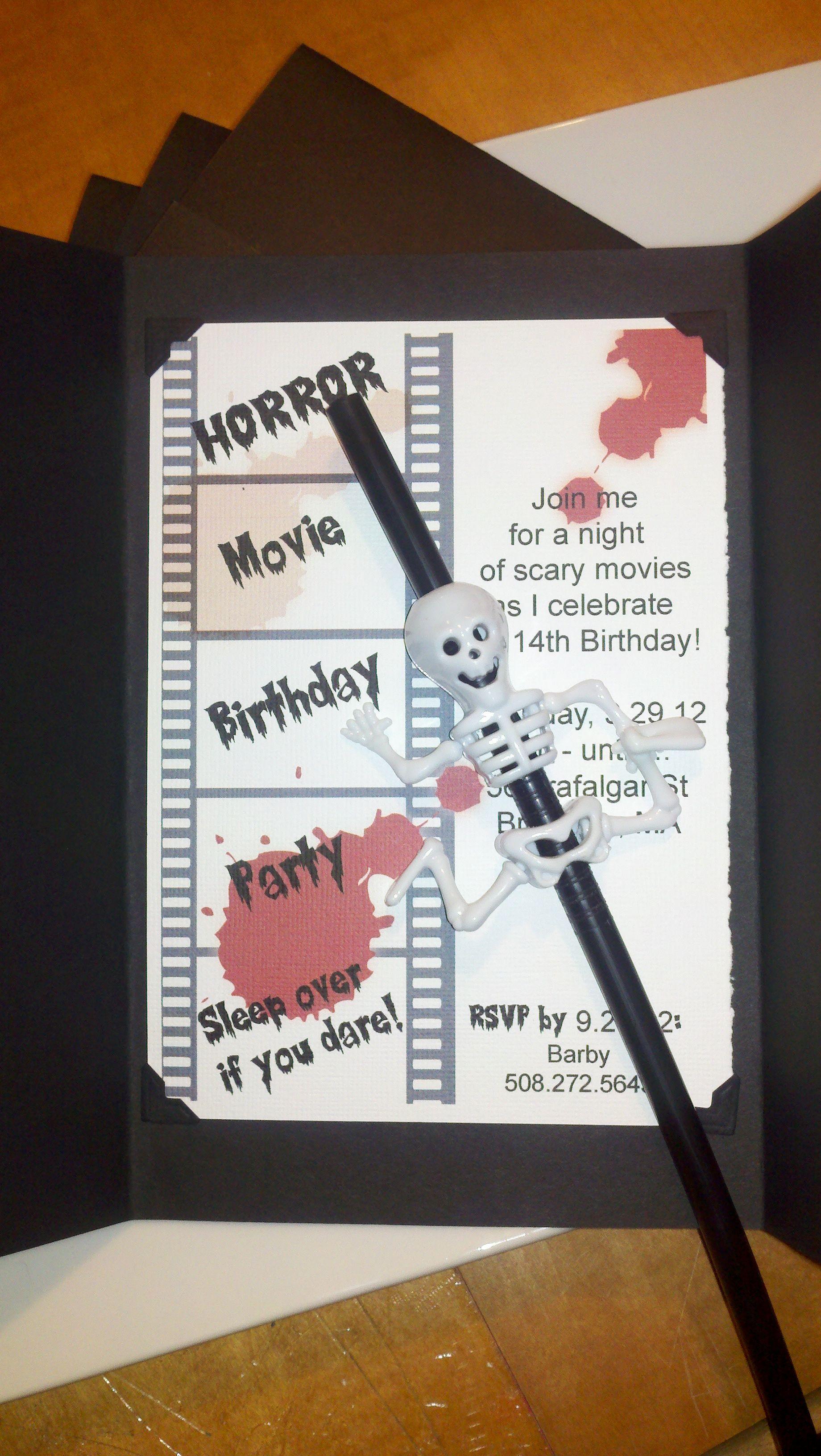 Horror Movie Theme Birthday Party.. Invite Movie party