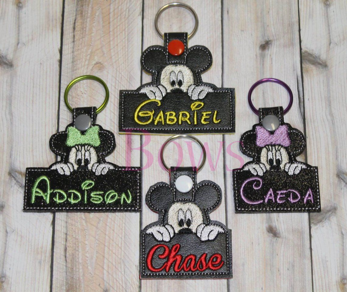 Mice with Name Key Fob Set embroidery design digital