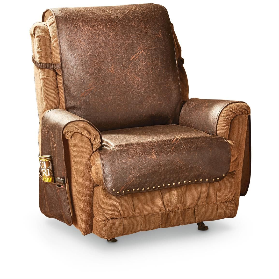 Faux Leather Recliner Cover, Cognac Recliner cover, Arm