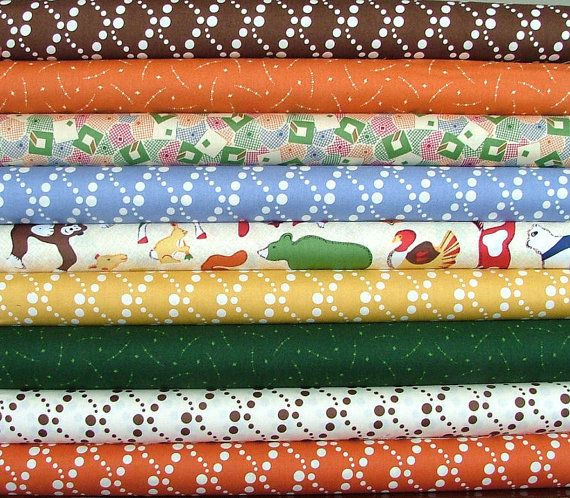 SALE Fat Quarter Bundle of Doodle Zoo by Thimbleberries for RJR Fabrics