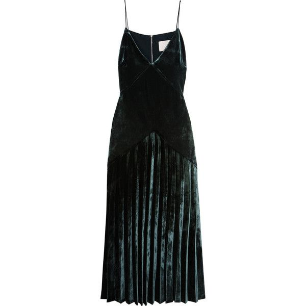 Low Price Fee Shipping For Sale 2018 New Sale Online Pleated Velvet Midi Dress - Emerald Dion Lee Authentic Cheap Online Real Sale Online Marketable Cheap Price sXEtd7