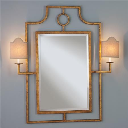 Gold Keyhole Mirror With Attached Sconces From Shades Of