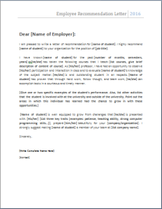 The Employee Recommendation Letter Is Written By A Manager Or