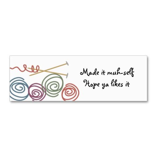 Colourful yarn balls knitting needles gift tags business card template