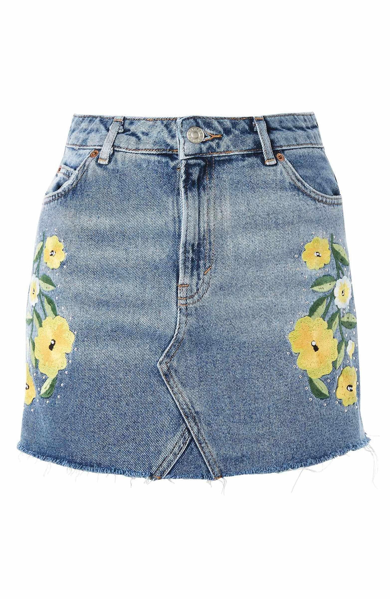 1fd3f0de31 Main Image - Topshop Floral Stud Denim Miniskirt | style | Studded ...