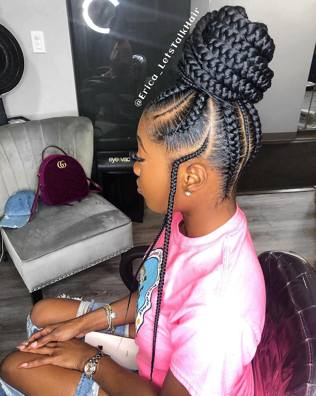 Natural Hair On Instagram Are You Feeling This Protective Style Erica Letstalkhair Braided Hairstyles African Braids Hairstyles Girls Hairstyles Braids