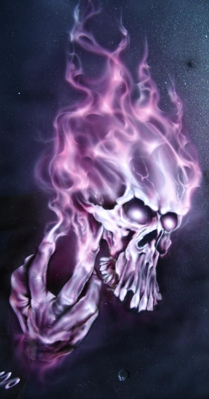 Airbrush Purple Flame Cool Skull