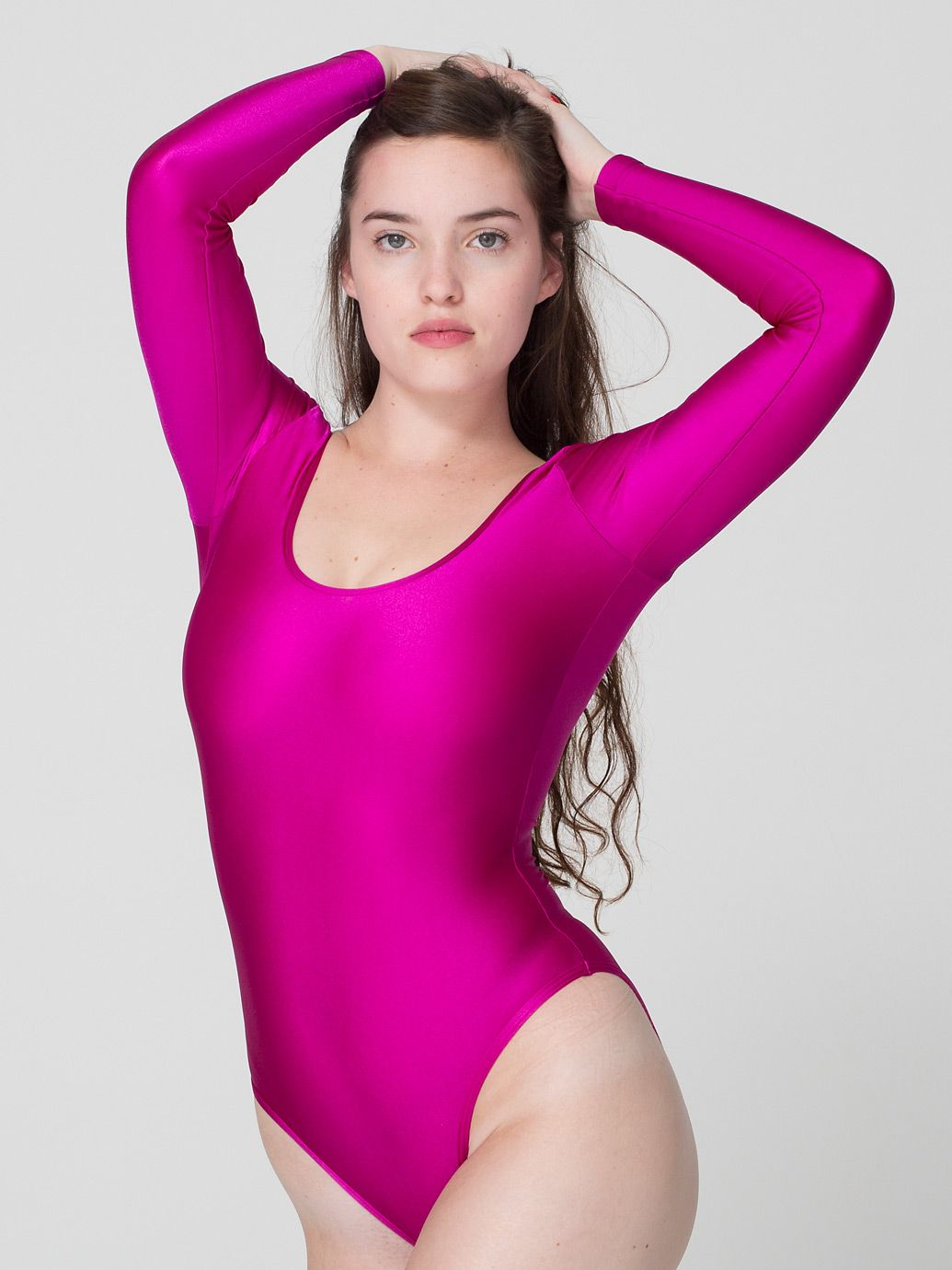 Nylon Tricot Double U-Neck Long Sleeve Bodysuit in Magenta by  AmericanApparel. Find this Pin and more on HOT PINK FUSCHIA MAGENTA ... eb719e3d4