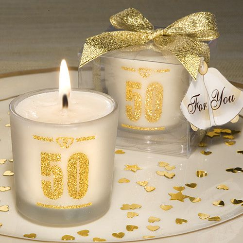 50th Wedding Anniversary Candle Favors