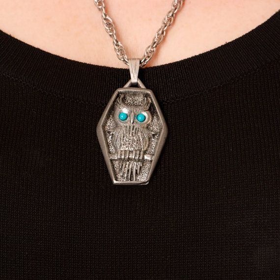 Pewter Owl Necklace with Turquoise Blue Eyes by TwiceBakedVintage, $12.00