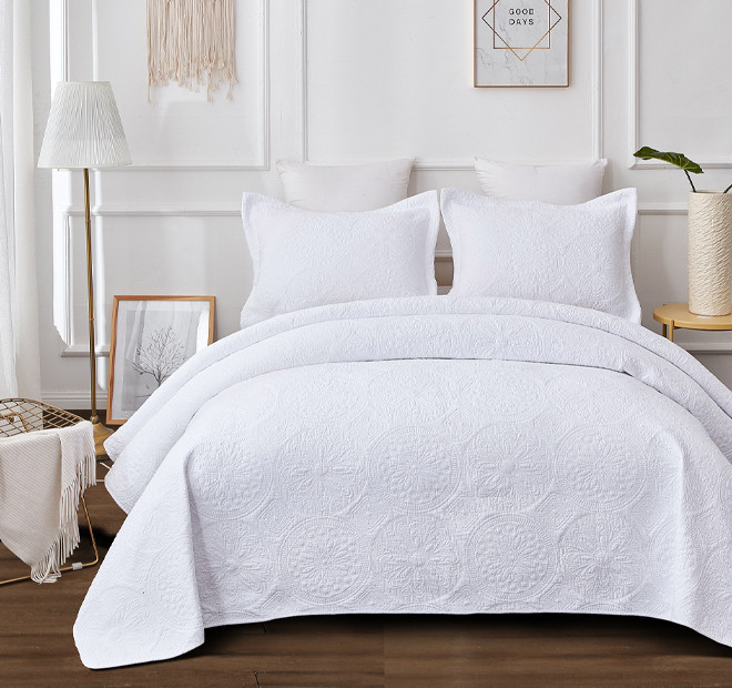 Embroidered Vivid White Coverlet Set Range Coverlets And