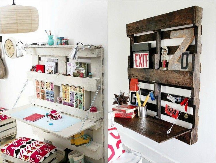 schreibtisch selber bauen paletten klappbar platzsparend. Black Bedroom Furniture Sets. Home Design Ideas