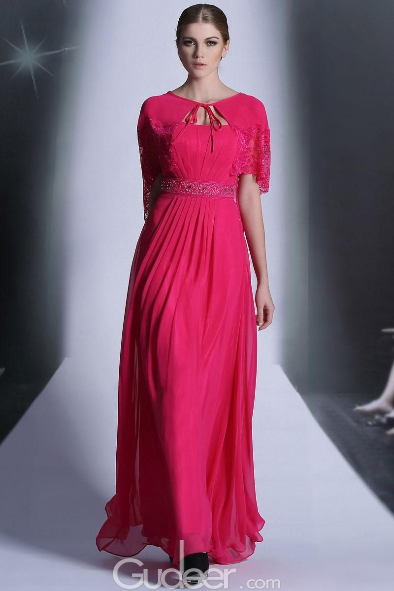 Hot pink strapless beaded ruched long chiffon evening dress with