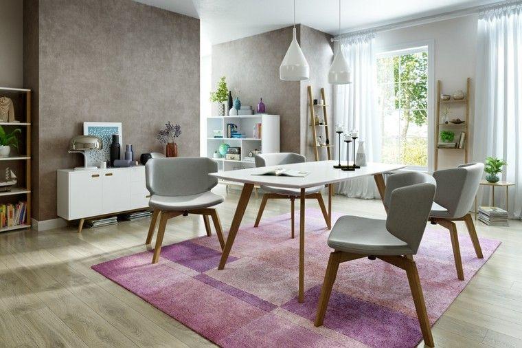 alfombra de color purpura en el comedor moderno comedores