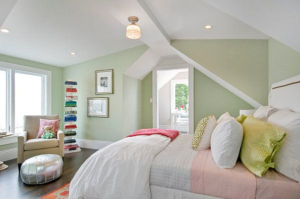 Bright Accents In A Pastel Mint Bedroom Light Green Bedrooms Green Bedroom Design Best Bedroom Colors