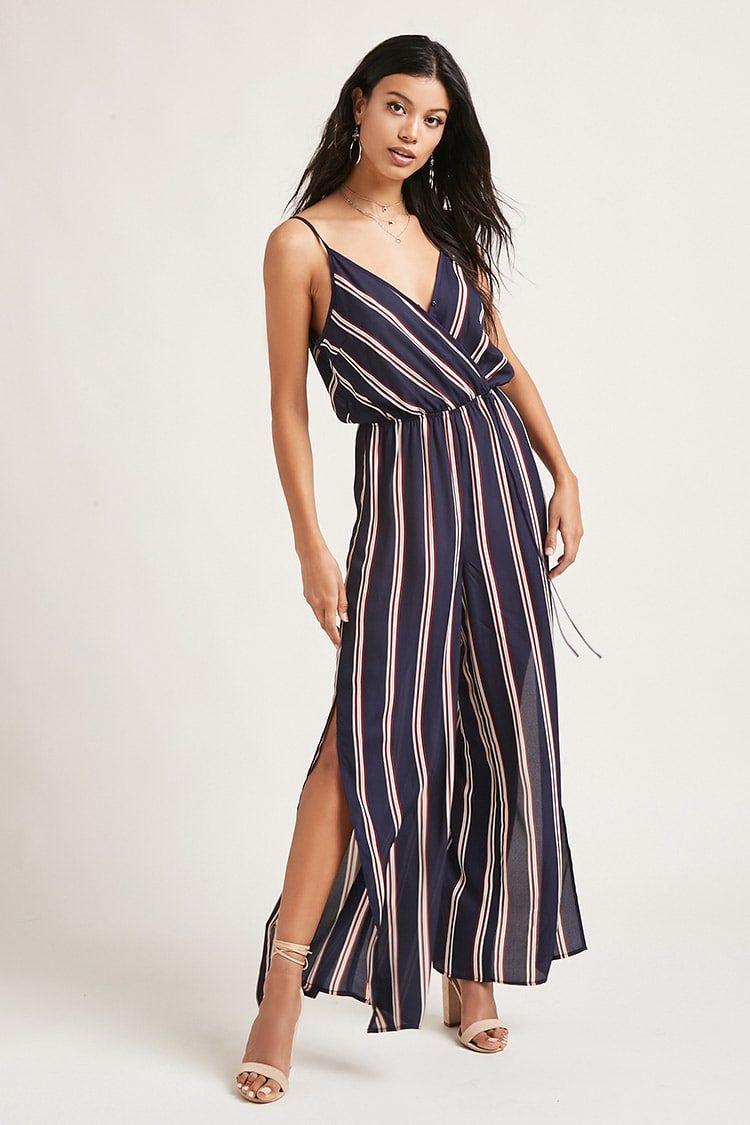 8a8f3d943de A woven jumpsuit featuring an allover striped print