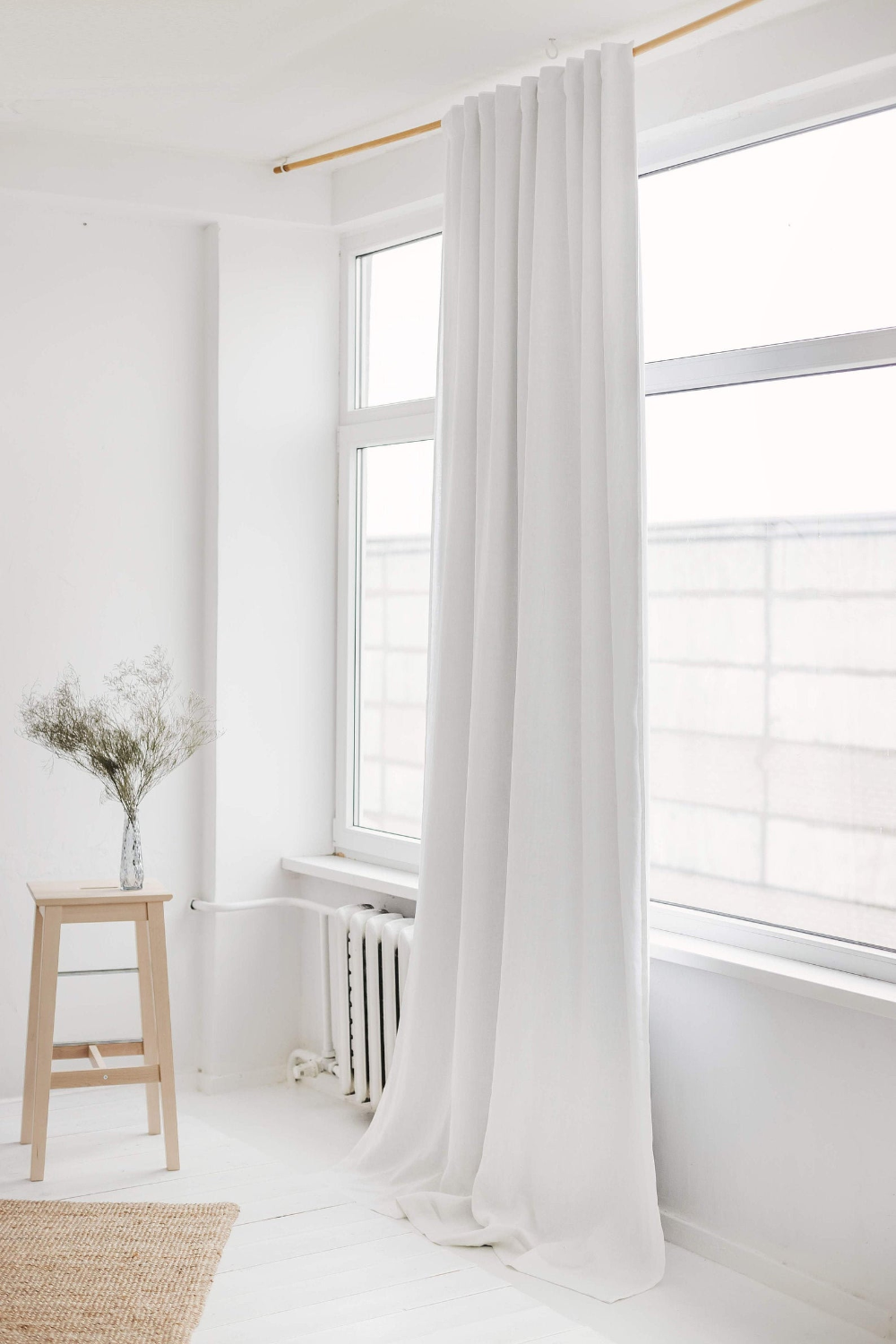 108 275 Cm Width Linen Curtain With Blackout Lining White Linen Window Drape Blackout Linen Curtain Panel Extra Wide Linen Curtain In 2020 Linen Blackout Curtains Linen Curtains Linen Curtain Panels