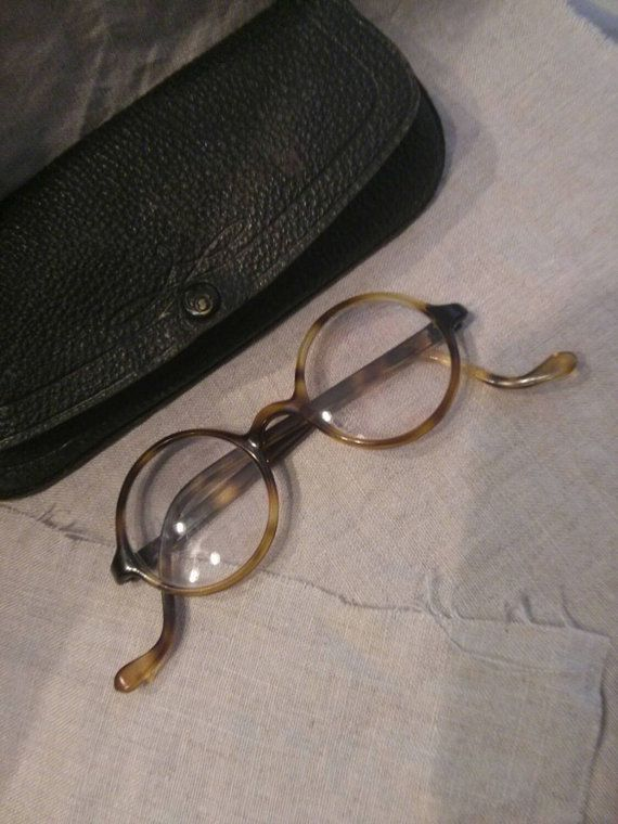 Amazing Tortoise, Antique John Lennon Glasses, with Detailed Leather Case, Circa 1920s