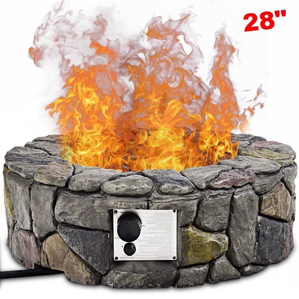 Propane gas fire pit kit lava rocks cover ring outdoor heater burner