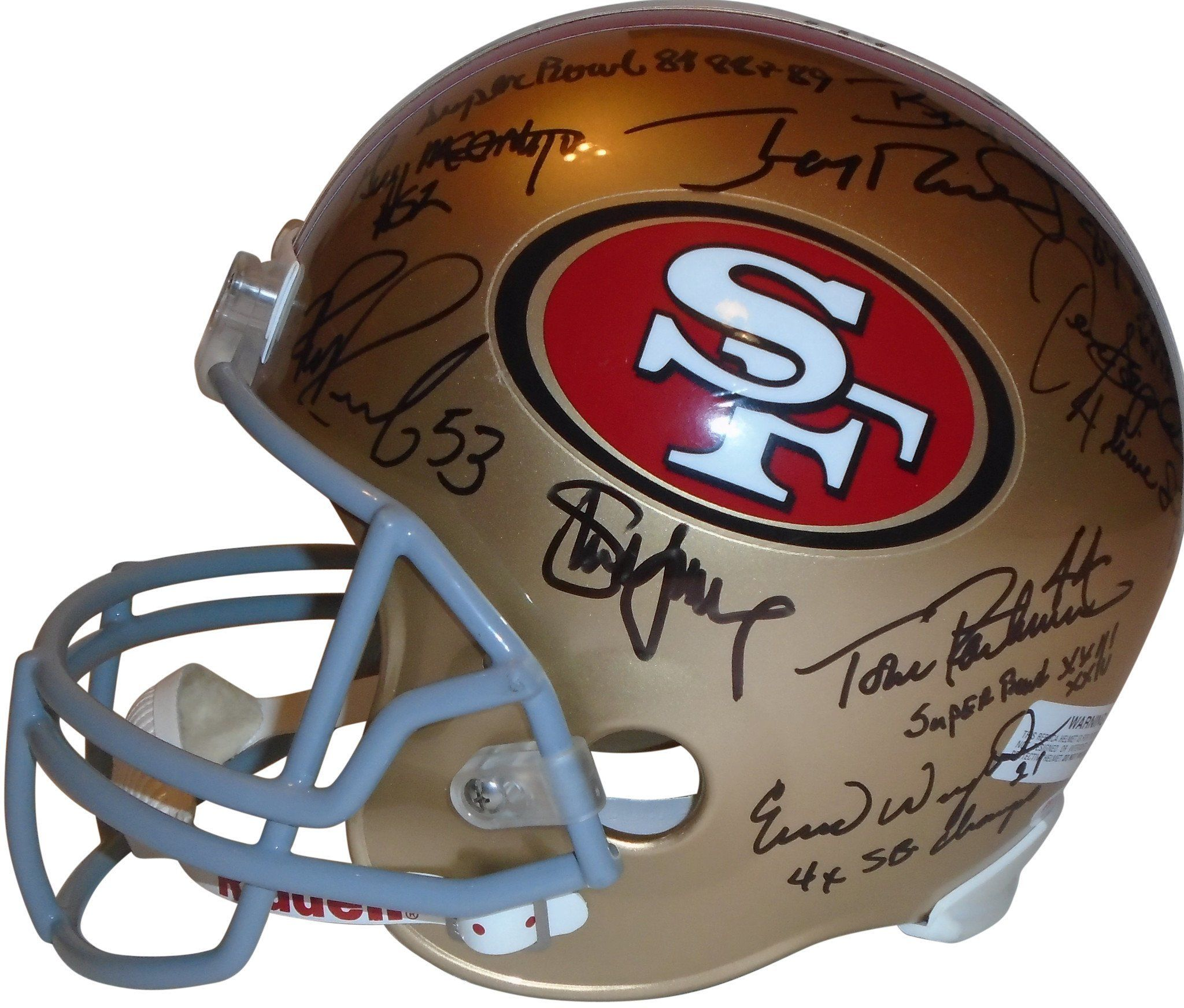 23110acbf This is a brand-new San Francisco 49ers legends & Super Bowl champions  signed Riddell full size deluxe replica football helmet. The following 49ers  signed ...