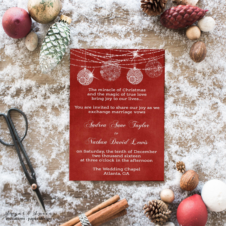 Christmas Wedding Invitation, Winter Wedding Invitation, Holiday ...