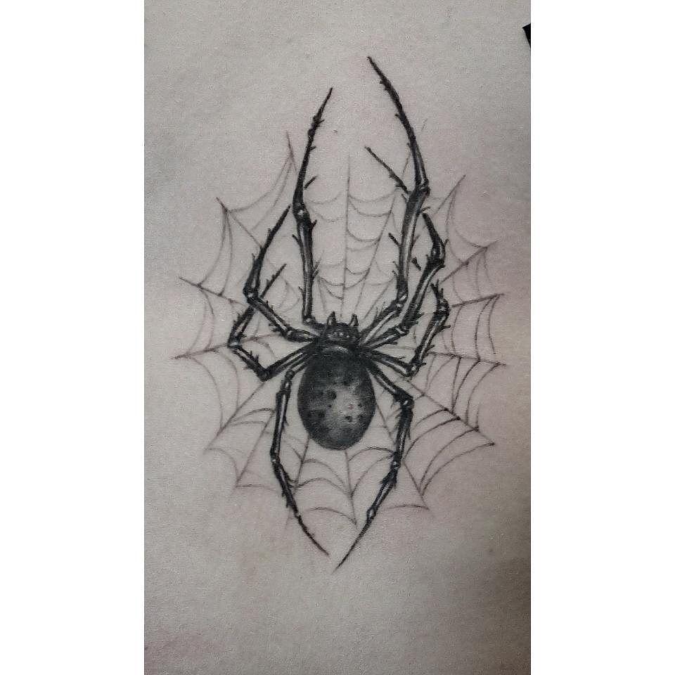 Black Spider Tattoo Design | Tattoos | Pinterest | Spider tattoo ...