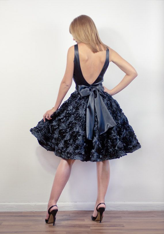 b3ac96276b0 Black Satin Open Back Dress With RosetteEmbroidered by LanaStepul