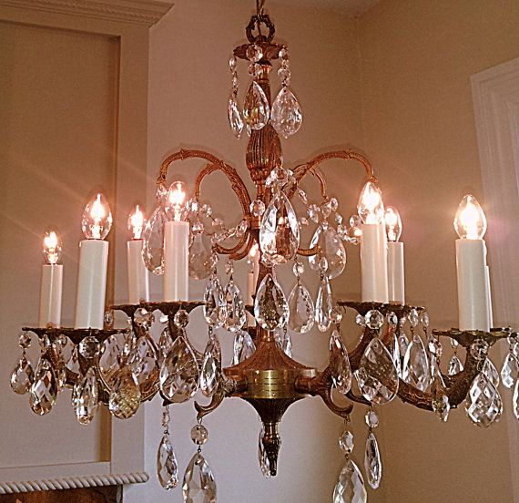 Antique Crystal Chandelier Large 5 Arm 10 Light Made in Spain Solid Brass  Crystal Prisms - Antique Crystal Chandelier Large 5 Arm 10 Light Made In Spain Solid