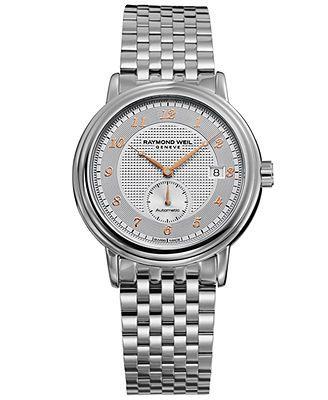 RAYMOND WEIL Watch, Men's Swiss Automatic Maestro Stainless Steel Bracelet 39mm 2838-S5-05658