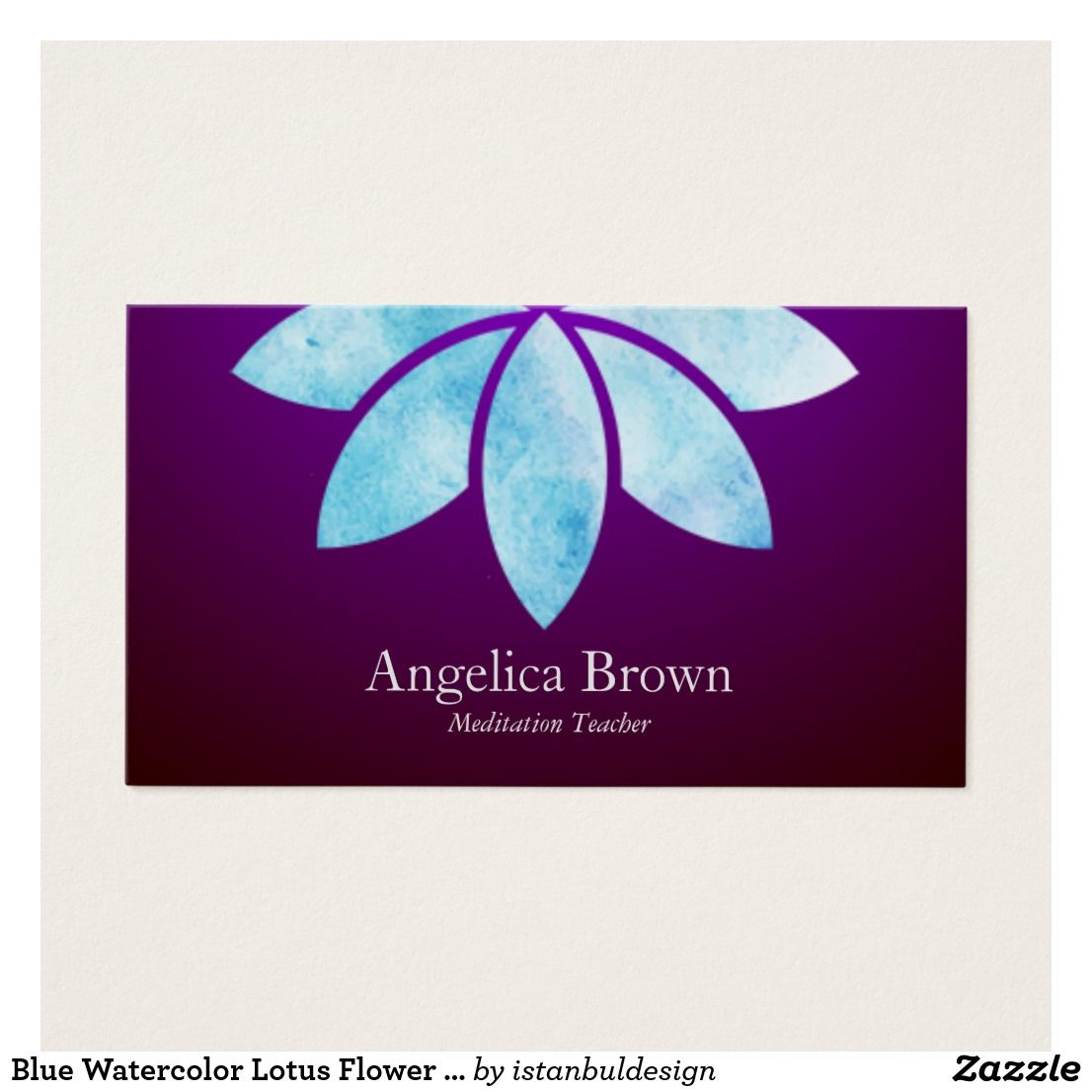 Blue Watercolor Lotus Flower Business Card | Meditation Business ...