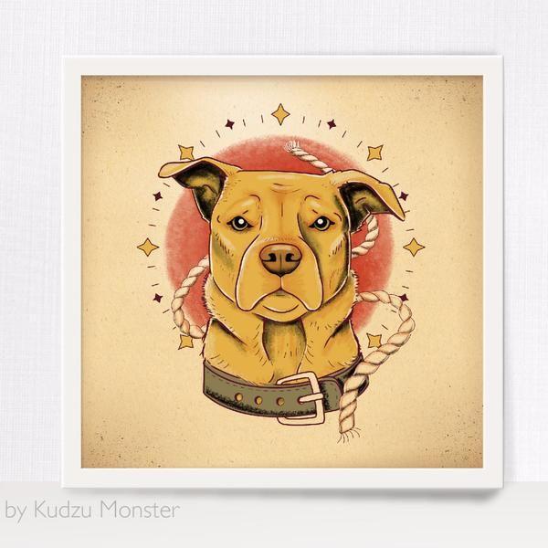 Custom Pet Portrait and art print - Kudzu Monster