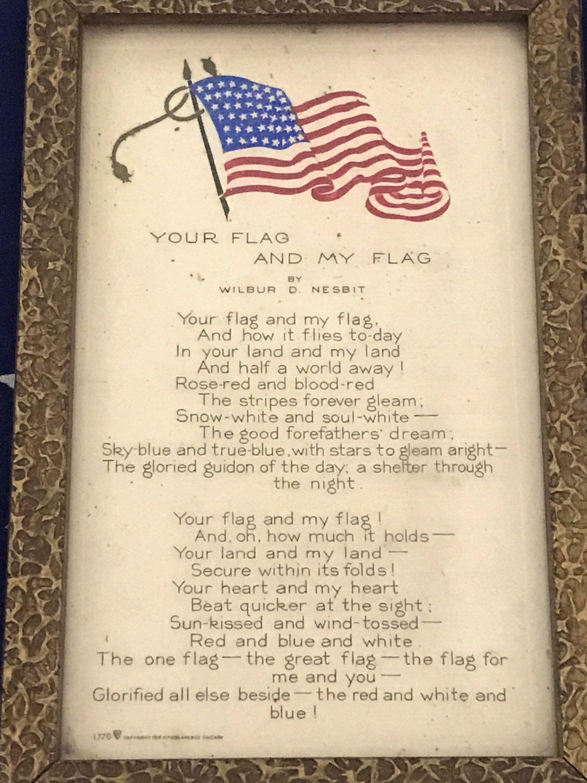 Antique Framed Poem Your Flag And My Flag By Wilbur D Etsy In 2020 Framed Poem Patriotic Poems Antique Frames